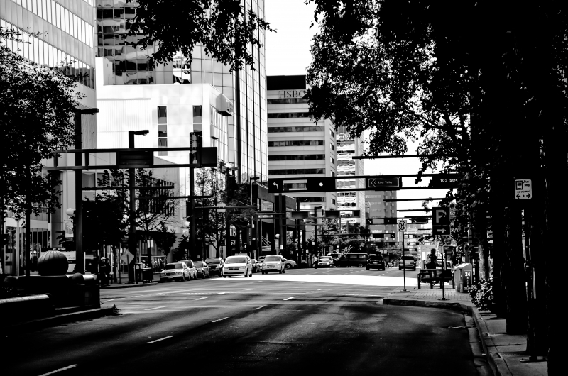 Black and white photo of downtown