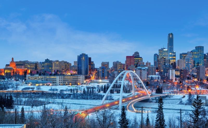 winter sunset skyline Edmonton