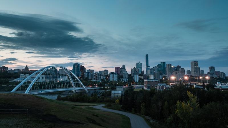 Edmonton downtown skyline and bridge
